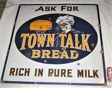 ANTIQUE USA TOWN TALK BREAD BAKERY STORE MILK ART PORCELAIN ADVERTISING LG SIGN
