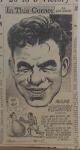 """1935 newspaper panel """"In This Corner"""" featuring boxer Paulino Uzcudun"""