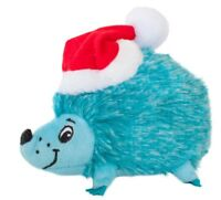 HOLIDAY HEDGEHOGZ SMALL BLUE Santa Hat Squeaker Plush Xmas Dog Toy Gift