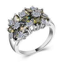 Women Fashion Jewelry 925 Silver Green Peridot Cocktail Ring Size 6-10