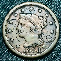 1853 Large Cent Matron Braided Hair 1C High Grade Details US Copper Coin CC4503