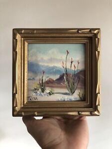 SIGNED Marga California Plein Air San Jacinto Desert Mountains Oil Painting NR