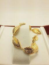 18k Solid Yellow Gold Italian Polished Hollow Leaf Bracelet 8.45 Grams