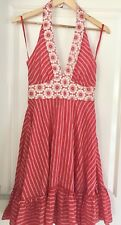 CHARLIE BROWN WOMENS DRESS NALTER NECK STRIPED RED WHITE FLORAL SZ 8