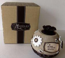 "Pavilion Gifts Modeles ""Love"" 5"" Round  Tea Light Holder #88011"