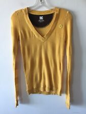 DC Shoes Pullover V Neck Sweater Cotton Blend Yellow Women's Small