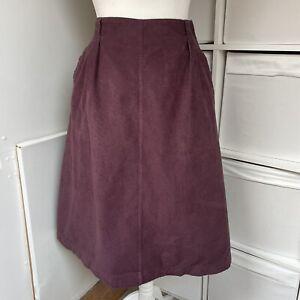 Seasalt Aubergine Cord Silversmith Skirt Size 18 Midi Pockets Corduroy Cotton