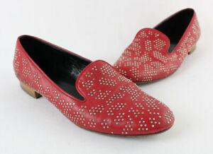 Saint Laurent Auth Red Leather Mini Silver Studded Loafer Flat Shoe 37 7