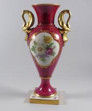Lindner Bavaria Große Prunkvase Schwanenhenkel Vase purpur Blumen