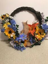 Fiber Optic Floral Wreath Battery Operated New Lights Flowers Door Window Decor
