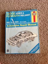 Haynes Repair Manual 1981 - 1989 Dodge Aries & Plymouth Reliant #30008 (723)