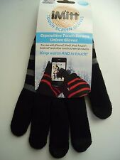 iMitt Touch Screen Unisex Gloves, One Size Fits All, Black/Gray,NEW with Tags
