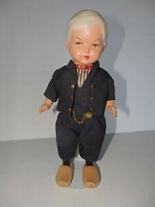 "Vintage 10"" Dutch Boy Doll Celluloid Head Marked 'VH' Holland"
