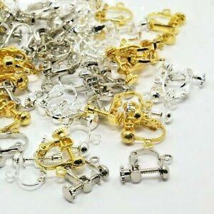 Earrings Findings Clip-on Screw 2 prs Silver/Rose/Iron W/Loop 17x13mm