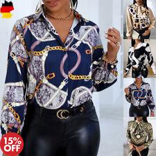 Damen Printed Hemd Langarmshirt Herbst T-Shirt Elegant Hem Bluse Oberteile Slim
