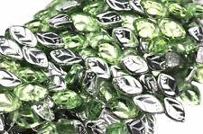 25 Silver Peridot Czech Glass Leaf Beads Side Drilled 12MM