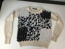 Zara Knit Womens Jumper Sweater Cream Black Size S Small Long Sleeve Round Neck