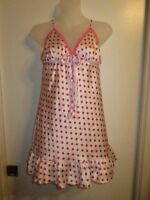Victoria's Secret Angels S Sleep Top Cami Lingerie Polka Dot Pink White Lounge