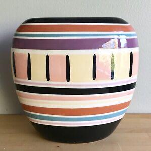 Vintage 80s Ceramic Vase Vohann Pastel Oval Black Purple Orange Retro