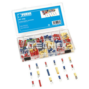 Kit Assortment Terminals For Cables 200pz Fervi 0293 IN Oraganizer Of Plastic