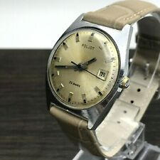 Automatic USSR Wristwatch POLJOT Rare Casual Date Men's SERVICED Champagne Dial