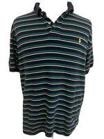 Polo Ralph Lauren Men's Green Striped Short Sleeve Golf Shirt Size XL NICE!!