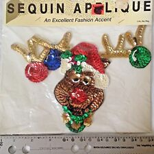 "Beaded Sequined Reindeer Head Applique 8.5"" for Christmas Sweater Stocking NEW"
