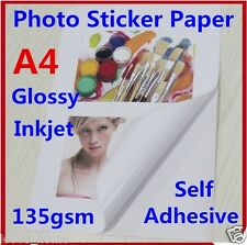 10X A4 135GSM Glossy Photo Paper Sticker Self Adhesive Inkjet Print Sheet Office