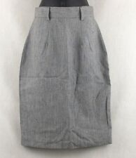 Vintage Style Que 1 Women's Skirt Size 7/8 Gray Striped W/Colorful Accents