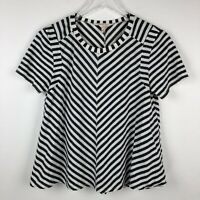 Rebecca Taylor Womens Top Size S Small Stripe Gray White Blouse