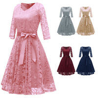 Women Vintage V Neck Lace Formal Wedding Cocktail Evening Party Prom Swing Dress