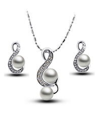 Pearl and crystal stud earrings and necklace set
