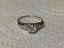 Classic 18K Whie Gold Diamond Engagement Wedding Ring