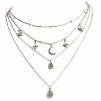 Boho Women Fashion Crystal Star Moon Chain Multilayer Choker Pendant Necklace