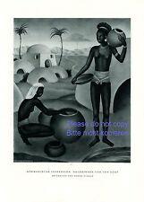 Afrika Impressionen XL Kunstdruck 1929 Magda Scholz Negerin vor Dorf Afrikanerin