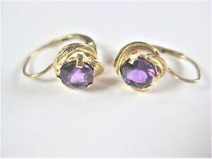 Earrings Gold 585 With Amethyst, 2,05 G