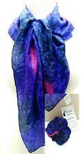 J'En El Silks Blue-Purple-Pink Handpainted Scarf + Scrunchie San Diego 808