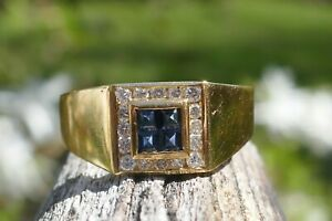 Vintage Gentleman's 18kt Yellow Gold Sapphire & Diamond Ring - Size 13