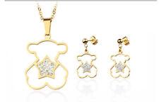 New Women Bear Series 06 Pendant Necklace Chain Earrings Jewelry Set Gift