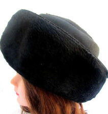 VTG 60'S...OLEG CASSINI...BLACK...WOOL & FAUX FUR...HAT