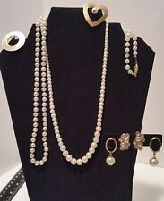 Vintage Simulated Pearl Lot 6 pieces; 2 necklaces, 2 brooches, 2 earrings