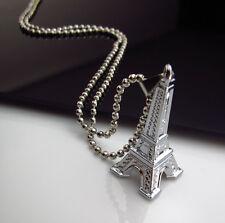 Cool Gift Unisex's 3D Silver Titanium steel Eiffel Tower Pendant Necklace Chain