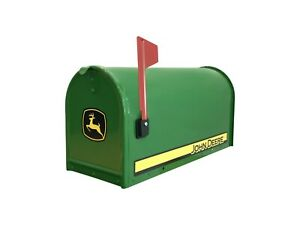 John Deere Collectible Mailbox With Decals Flag Green Metal Residential Post Mnt