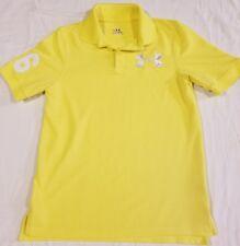 Under Armour Yellow Big White Logo Youth Medium Heat Gear Short Sleeve Golf Euc