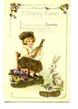 Boy Plays Egg Instrument-Beads Novelty Easter Holiday Greeting Vintage Postcard
