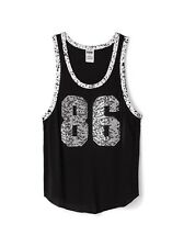 Victoria's Secret PINK Bling 86 Sequin Muscle Tank Top Black Small