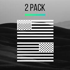 "2 PACK - White American Flag Decal 5""x3"" Military Vinyl Set USA Car Truck Jeep"