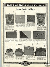 1934 PAPER AD Metal Mesh Armor Enemeled Hand Bag Purse Evans Compact Lip Stick