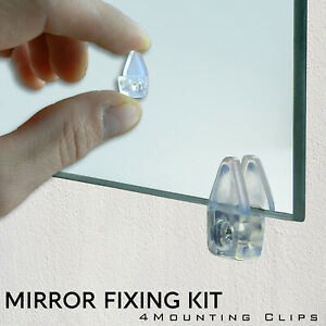 4 Mirror Wall Hanging Fixing Kit Frameless Plastic Mirror Wall Mounting Clips