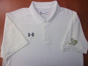 Under Armour MLB Oakland Athletics Baseball Heat Gear Golf Polo Shirt L ~NEW~